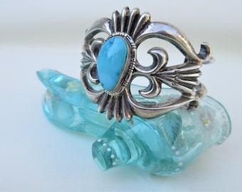 Vintage Sterling Bracelet | Turquoise Cuff Bracelet | Native American Jewelry Bracelet | FL Begay | Navajo Bracelet
