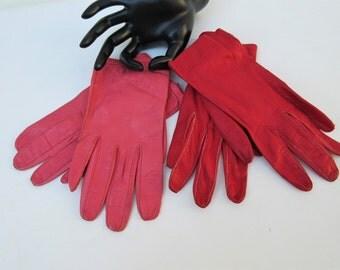 Vintage Italian Leather Gloves | Ladies Gloves | Driving Gloves | Pink Leather Gloves | Red Leather Gloves