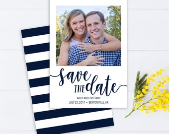Photo Save The Date with Navy Calligraphy and Bold Stripes
