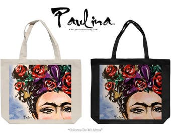 Frida Kahlo Colors of My Soul Painting by Paulina Canvas Fashion Tote Bag