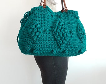 Green Shoulder Bag Green Tote Handbag Leather Bag Leather Tote Handmade Bag Christmas gift Teal  Bag shoulder bag gerard darel Green Bag