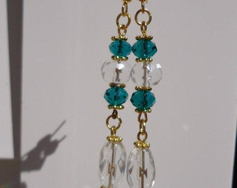 Clearance/destash Green Crystal dangle long  earrings by Ayla's Bead Creations