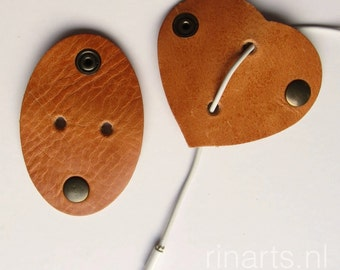 Earbuds holder / earphone / headphone cable organizers in honey/light tan British saddle leather. Set of 2.  Gift under 15.