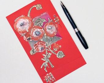 Bright red anemones - handmade blank greeting card, mixed media art, coral red ranunculus, floral original painting, green orange pink OOAK