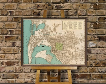 Vintage map of San Diego -  Restored map- Large wall map reproduction