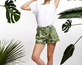 Handmade monstera shorts, summer shorts, leaf shorts