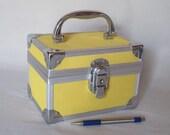 Reserved for Barbie Miniature Train Case, Vintage Mini Yellow Top Handle Bag, Silver Chrome Corner Trim Small Handbag, Retro Industrial