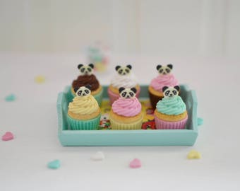 Sweet Petite 1:6 Scale Kitschy Panda Cupcakes with Serving Tray for Blythe