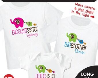Elephant Biggest Sister Shirt, Elephant Big Brother Shirt, Elephant Little Sister Shirt - 3 Personalized Sibling Shirts Matching