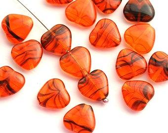 10mm Orange Heart beads, Striped Orange czech glass pressed beads, orange and black 20Pc - 0603