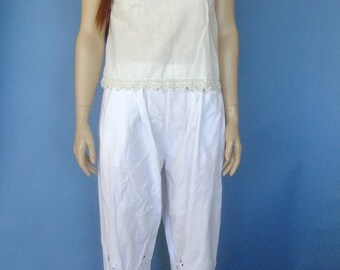 white pants, baggy trousers, summer pants, 80s vintage pants, loose fit pants, vintage trousers