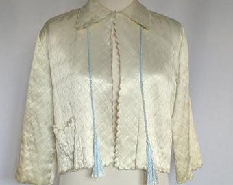 Vintage Pastel Mint Bed Jacket with Tassels