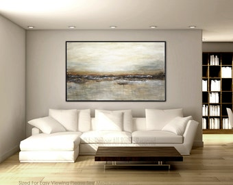 Large original abstract landscape painting 36 x 60 tan brown olive modern abstract art oil painting wall art large artwork by L.Beiboer
