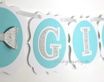 Aqua & Silver Banner-Tiffany Blue Banner-aqua blue banner-silver banner-robins egg banner-breakfast at tiffany's themed banner-