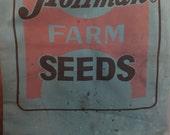 Vintage Hoffman Farm Seeds Advertising Bag Grain Sack Feed Aqua Teal Blue Farmhouse Decor