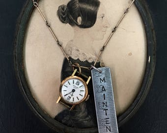 Maintenant Watch Necklace. Love Writing, antique watch part, tape measure, french, antique reconstructed, vintage assembled, repurp
