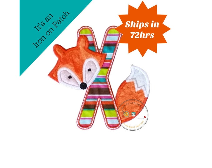 Woodland fox letter X machine embroidered iron on no sew patch, fox embroidered monogram letter x, ready to ship