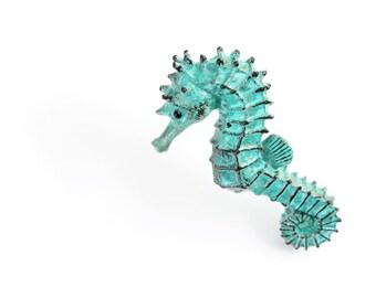 Large Verdigris Seahorse. Open Edition Bronze.