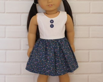 "Navy Blue White Floral 60s Sleeveless Summer Dress Dolls Clothes to fit 18"" American Girl dolls and friends"