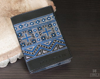 Painted leather passport cover, gift for women or gift for men. Gift idea for traveler, beautiful passport case with blue nordic pattern