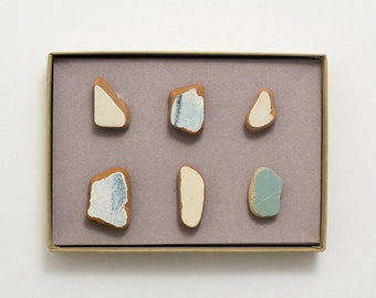 Blue Ocean Pottery Shards Magnets, Ceramic Magnets, Unique Terracota Magnets, Set of 6 Magnet, Super Strong Magnet Home Décor Gift for Woman