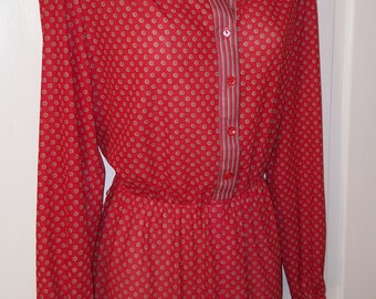 TOP ACT DRESS  // 80's Sheer See Through Red and Brown Polka Dot Dress Shirtwaisted Button Down Print Dress Plus Size 18 Striped