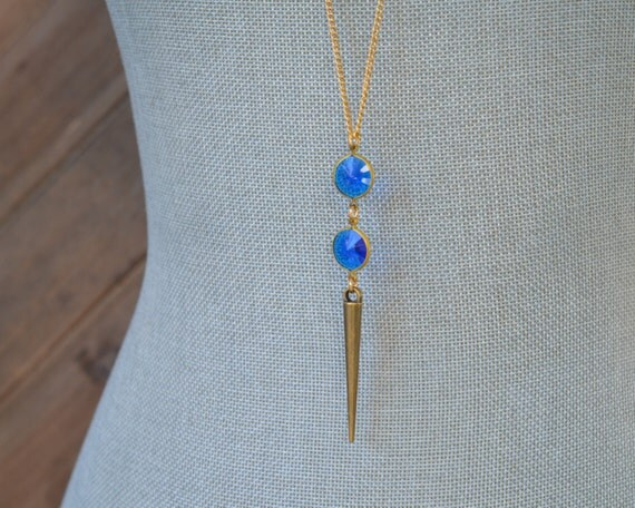 Long Sapphire Blue Necklace - Long Gold Spike Necklace - September Birthstone Necklace - Royal Blue Lucite Necklace - Gold Layering Jewelry