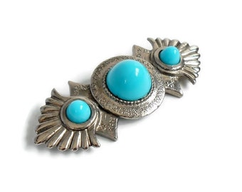 Large Silver Pin Western Style Faux Turquoise Stone Vintage Retro Cowgirl Concho Native American Costume Jewelry