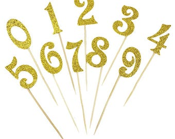 GOLD Happy Birthday number  Cake topper/ number cake topper