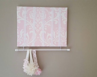 Bow Holder, Bow Organizer, Headband Holder, 11 x 14 Bow Board, Headband Organizer Pink White Damask Fabric, Baby Shower Gift, Nursery Decor