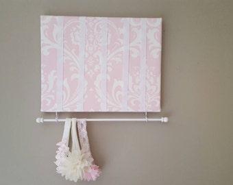 Bow Holder, Bow Organizer, Headband Holder, 11 x 14 Bow Board, Headband Organizer Pink White Damask Fabric, Baby Shower Gift, Nursery Decor