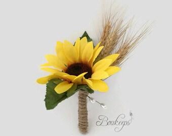 CHOOSE RIBBON COLOR - Silk Sunflower & Wheat Boutonniere, Sunflower Boutonniere, Wheat Boutonniere, Sunflower Wedding, Dried Wheat
