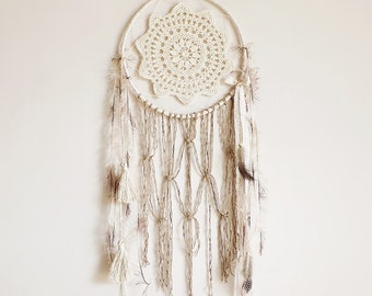 Dream catcher, pastel, wall hanging, handmade, wall decor, pastel dreamcatcher, large, boho, bohemian, gypsy soul, bedroom decor, macrame