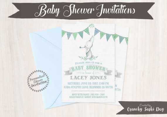 Cute Bunny, Boy Baby Shower Invitations, Printable Invitations, Baby Boy, Blue, Green, Rabbit, Bunny, Animal 002