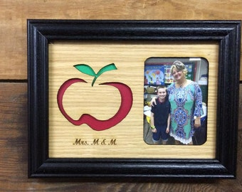 5x7 Personalized Teacher Picture Frame, Teacher Gift, End of the Year Gift, Apple Frame, Laser Engraved Picture Frame, Holds 3x4 Picture