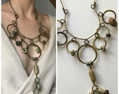 Vintage Brass Statement Necklace - Hammered Brass Circles and Stones - Handmade Vintage Necklace