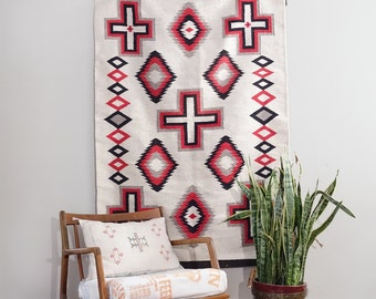 Vintage Navajo Style 4x6 Rug Native American White and Red Eye Dazzler Rug with Crosses
