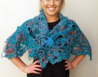 Designer Shoulder wrap/scarf/stole/shawl/accessory for Summer or Winter. Handmade Cobweb Felt with Teal and Tangerine yarns with felt brooch