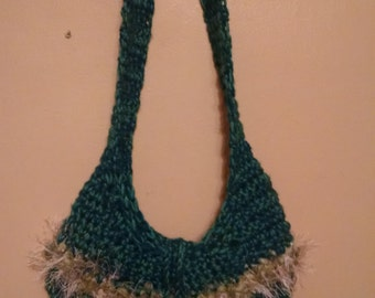 Crochet Teal Purse with Beads