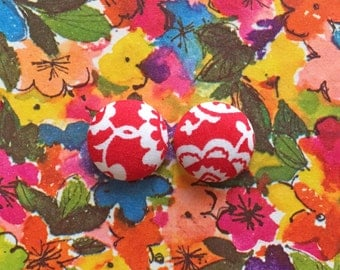 Red Button Earrings / Fabric Covered / Wholesale Jewelry / Made in USA / Hypoallergenic Earrings / Jewellry Handmade / Stud Earrings
