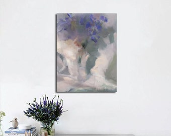 Abstract floral painting, Original oil painting of flowers on canvas, Contemporary still life artwork, Grey and lilac painting