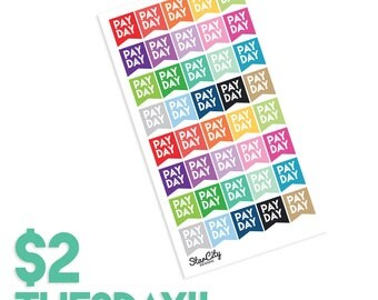 Payday stickers, Pay day flag stickers, multicolor payday stickers, payday stickers, pay day stickers, planner stickers, two dollar tuesday