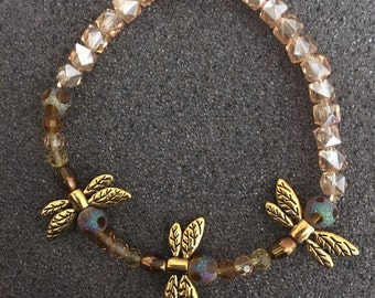 Gold Toned Dragonfly Stretch Beaded Bracelet- B09