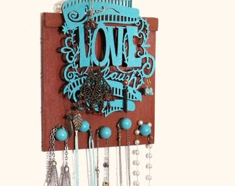 """Live Love Laugh Decorative Necklace and Ring Hanger, 8x6"""".  Key Hanger, Scarf Hanger. Cute and Functional Wall Decor. Beautiful Gift Idea."""