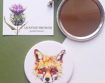 Fox - Pocket mirror - Illustration - Wildlife - Nature - British wildlife - Gift