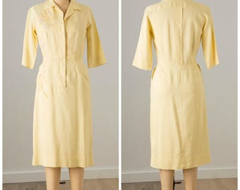 1950s Pale Yellow Linen Embroidered Shirtwaist Dress
