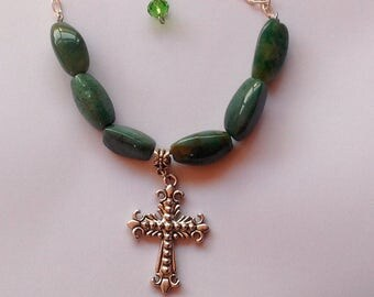 Cross Necklace, Agate Necklace, Scottish Agate Cross Necklace, Scottish Agate Necklace, Green Gemstone Necklace.