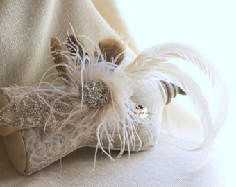 1920's feather headband - feather accessories -  feather fascinator - flapper feather headband - vintage bridal headpieces - feather crown