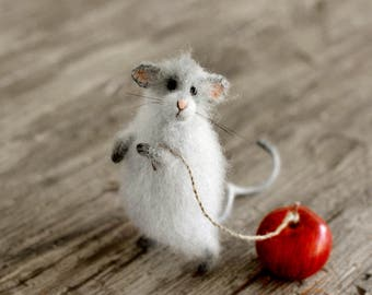Gray mouse toy mouse sculpture mouse stuffed animals art doll mouse gift ideas birthday gift for her mouse doll home decor felt mouse