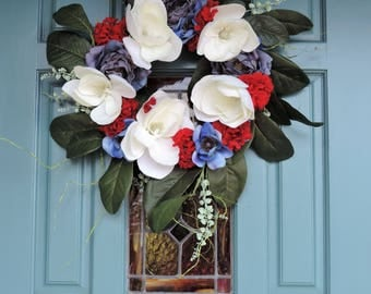 Fourth Of July  Wreath!  Red White And Blue- Perfectly Patriotic Memorial Day Wreath! White  Magnolia Southern Charm Wreath